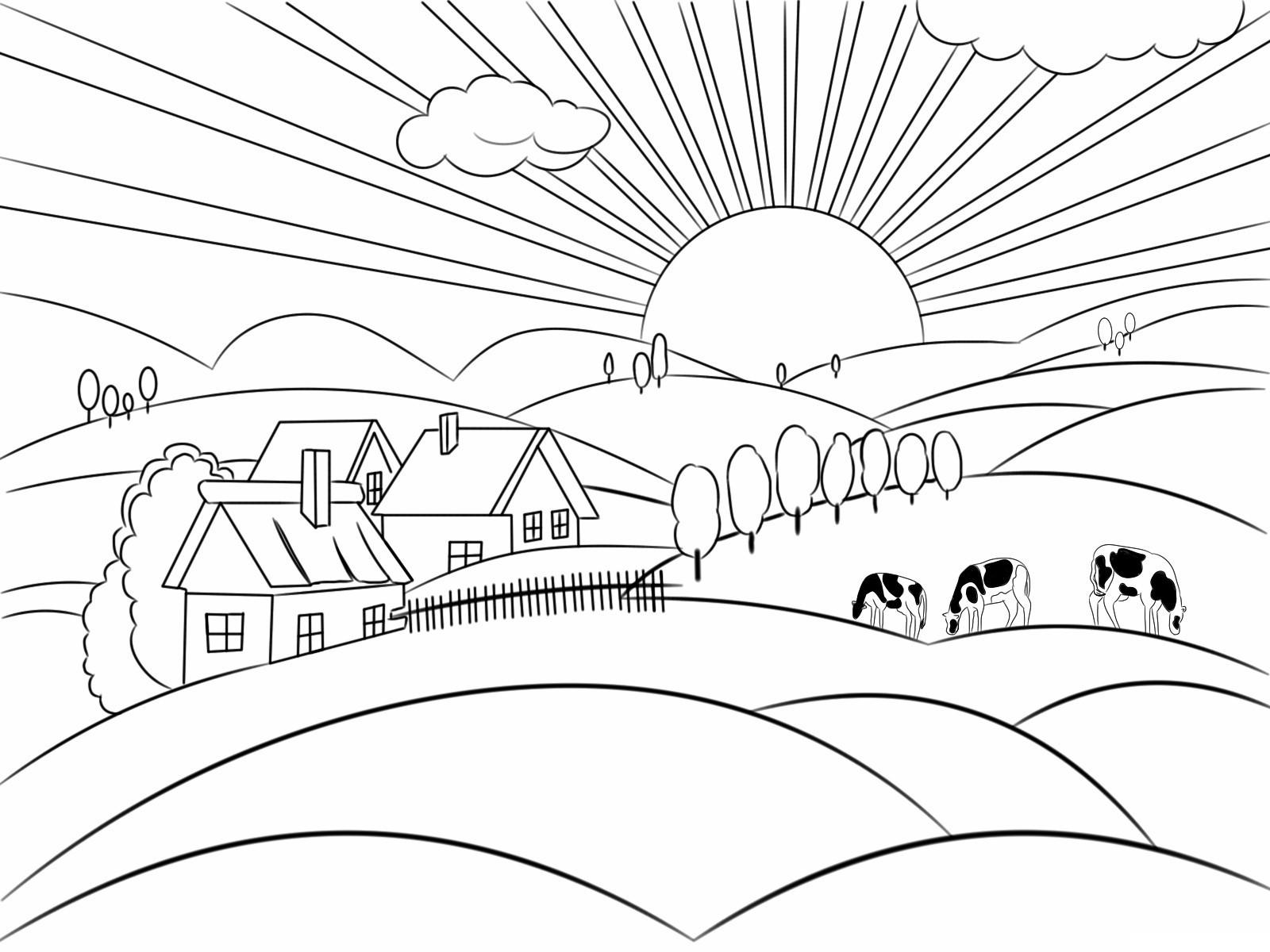 dibujo casa pradera y vacas