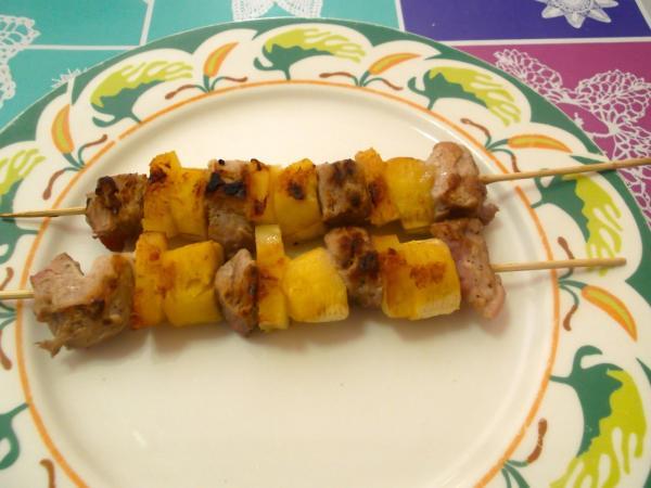Pinchos de plátano con pollo