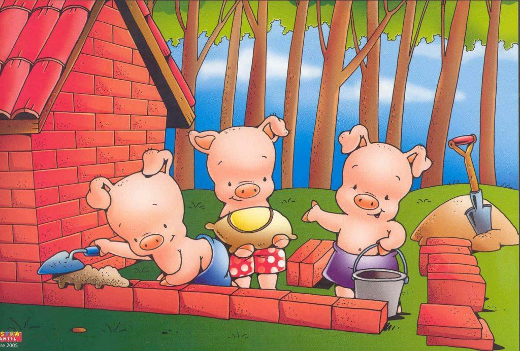 los tres cochinitos construyendo la casa de ladrillos